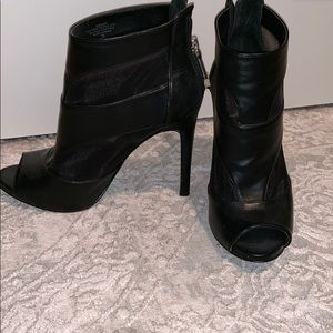 GUeSS open toe leather and mesh booties